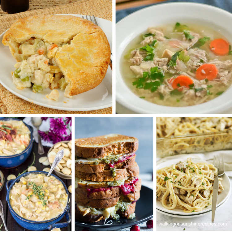 5 different recipes to turn leftover turkey into new delicious meals.