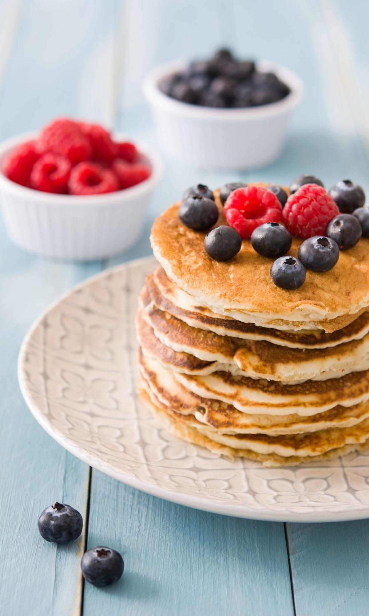 Pancakes with fresh fruit.