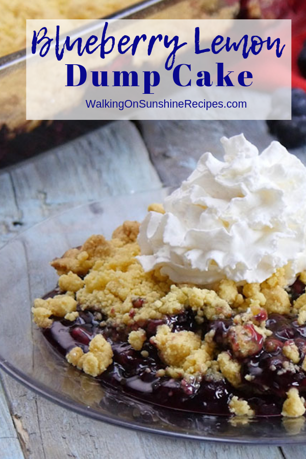 Easy recipe for blueberry dump cake with canned blueberry filling.