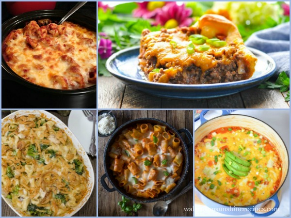 Casseroles perfect for Dinner Weekly Menu Plan from Walking on Sunshine Recipes FEATURED photo
