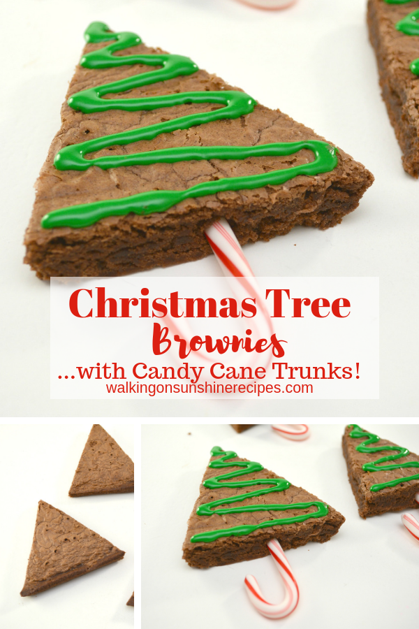 Christmas Tree Candy Cane Brownies from Walking on Sunshine Recipes