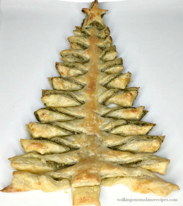 Christmas Tree Puff Pastry Appetizer ready to serve from Walking on Sunshine Recipes.