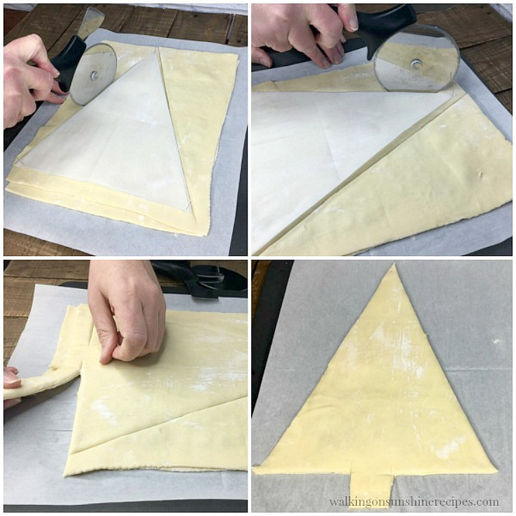Step by step photos of cutting out the Christmas Tree Puff Pastry Appetizer from Walking on Sunshine Recipes
