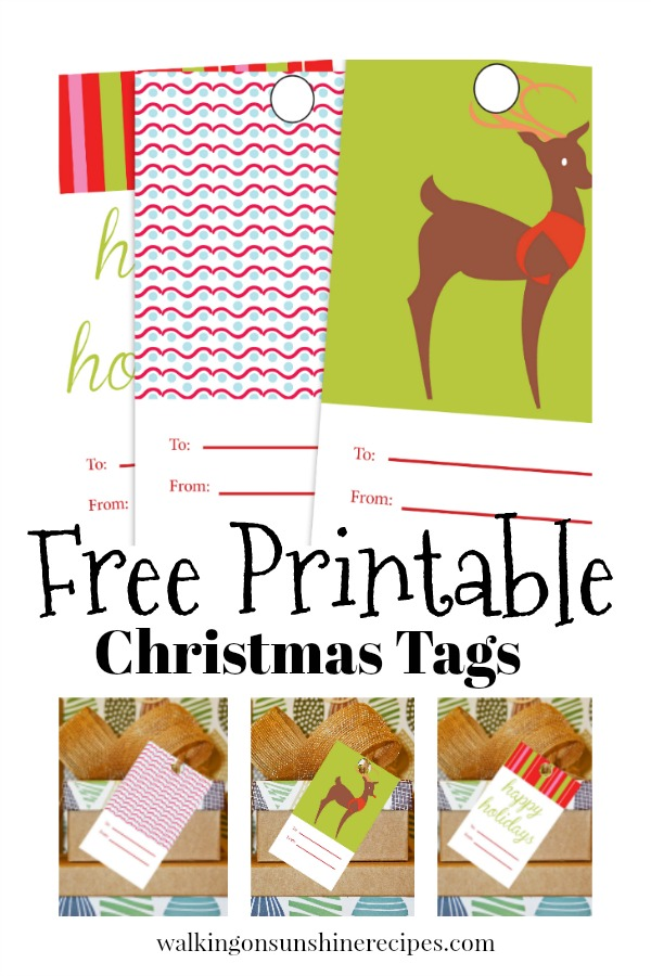 Three different printable Christmas Gift Tags available from Walking on Sunshine Recipes.