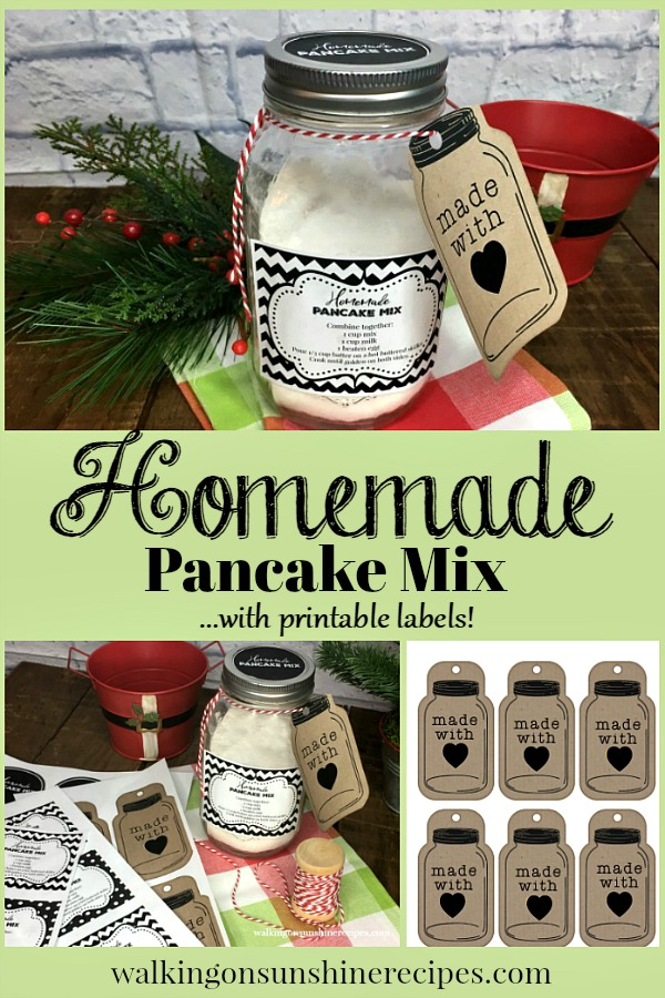 An easy recipe for Homemade Bulk Pancake Mix that you can use as gifts this holiday season or keep on hand to use for your family | Walking on Sunshine Recipes.