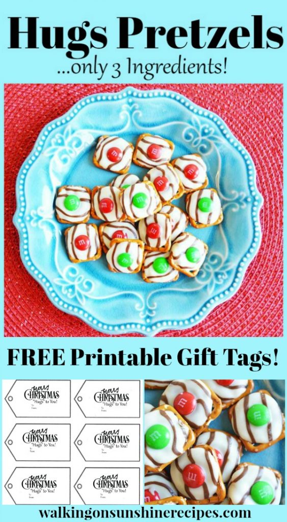 Hugs Pretzels with FREE Printable Gift Tags from Walking on Sunshine Recipes