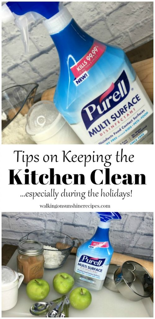 Keeping the kitchen clean over the holidays is easy using Purell Multi Surface Disinfectant from Walking on Sunshine Recipes.