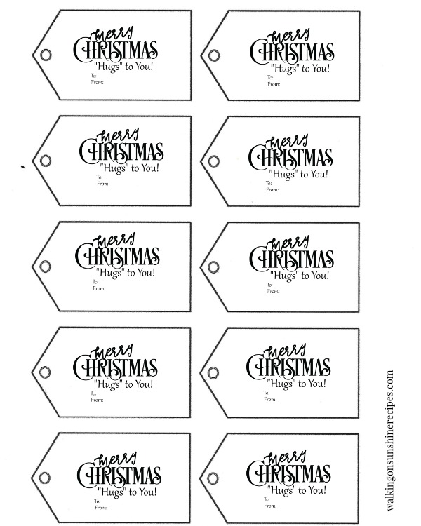 FREE printable gift tags for Hugs Pretzels Christmas Treats from Walking on Sunshine Recipes.