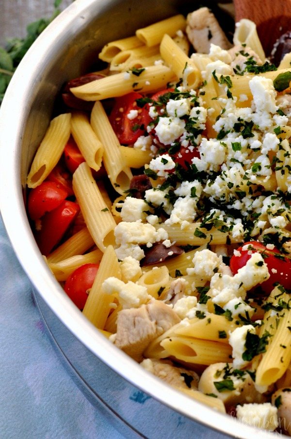 One Pot Greek Chicken Pasta from My Suburban Kitchen