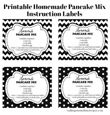 Homemade Pancake Label Directions