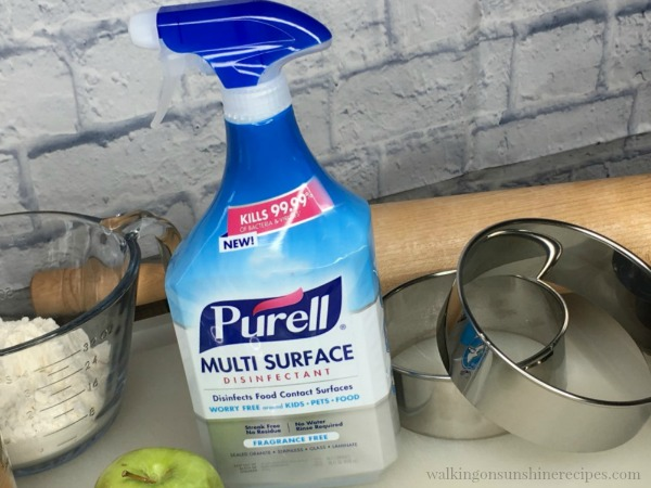 Purell Multi Surface Disinfectant is safe to use on food prep surfaces from Walking on Sunshine Recipes.