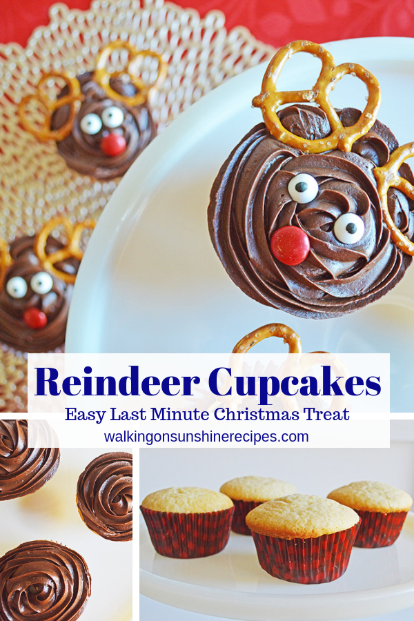 Reindeer Cupcakes with pretzel twist ears and candy pieces