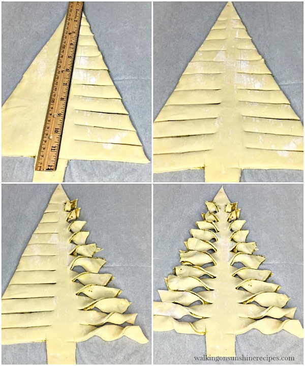 Step by step process of slicing and twisting the branches for the Christmas Tree Puff Pastry Appetizer