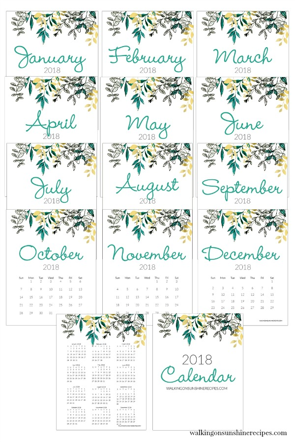 2018 Printable Calendar from Walking on Sunshine Recipes