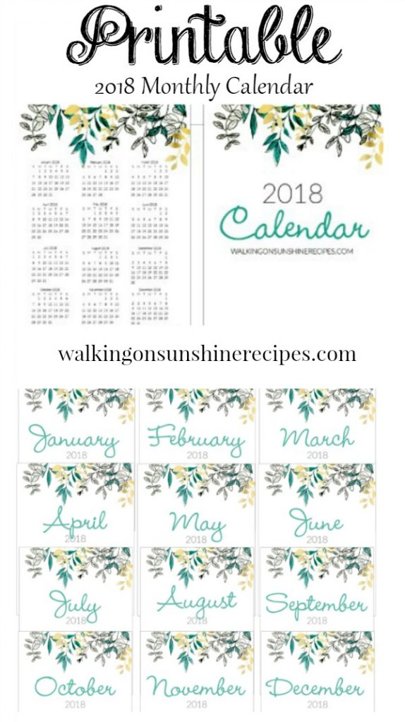 2018 Printable Calendar from Walking on Sunshine Recipes with pretty leaf design.