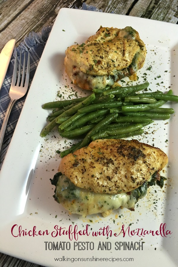 Chicken Stuffed with Mozzarella, Tomato Pesto and Spinach from Walking on Sunshine Recipes