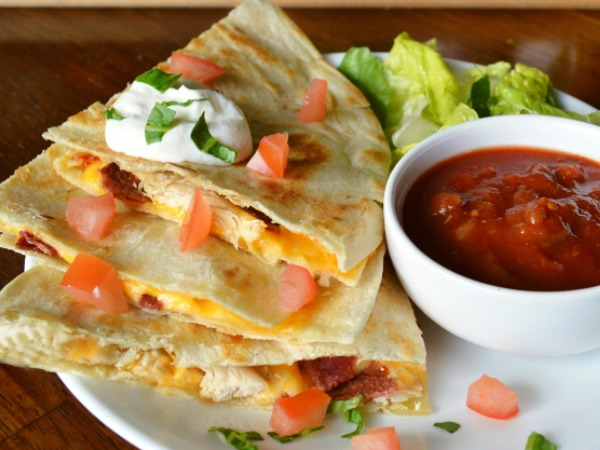 Chicken and Bacon Quesadillas from Joyful Homemaking