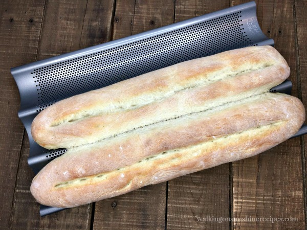 French Baguettes fresh from the oven in the special baguette baking pan.