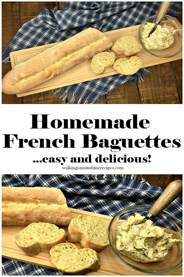 Homemade French Baguettes with homemade garlic butter