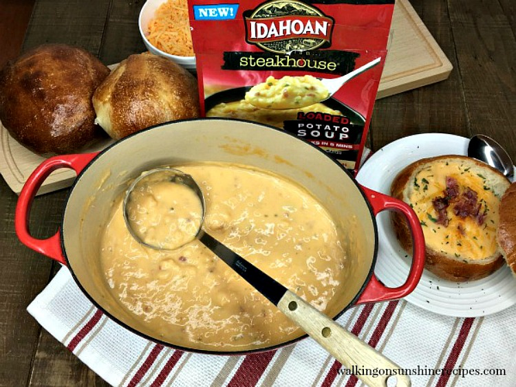 Idahoan Steakhouse Potato Soup with Bread Bowls from Walking on Sunshine Recipes