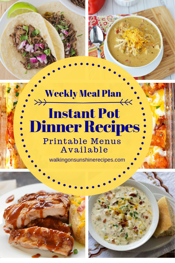 Instant Pot Recipes - Weekly Meal Plan