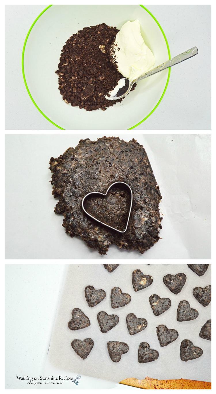 Making the Oreo Truffles in Heart Shapes