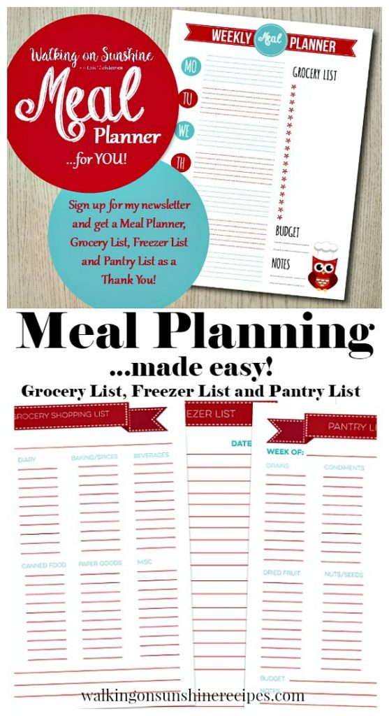 Meal Planning made easy with Printable Grocery, Freezer and Pantry Lists