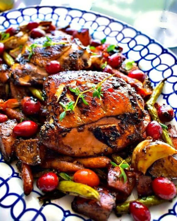 Oven Roasted Balsamic Chicken with Vegetables from Easy Cooking with Molly