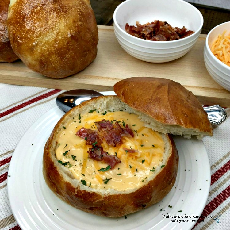 Bread dough made from frozen bread loaf filled with potato soup and bacon