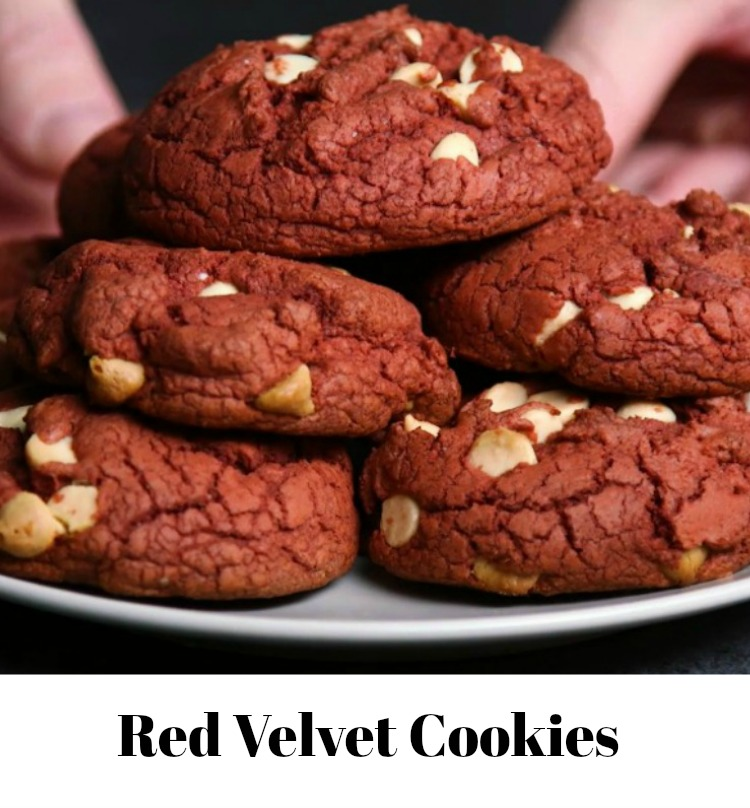 Red Velvet Cake Mix Cookies with White Chocolate Chips