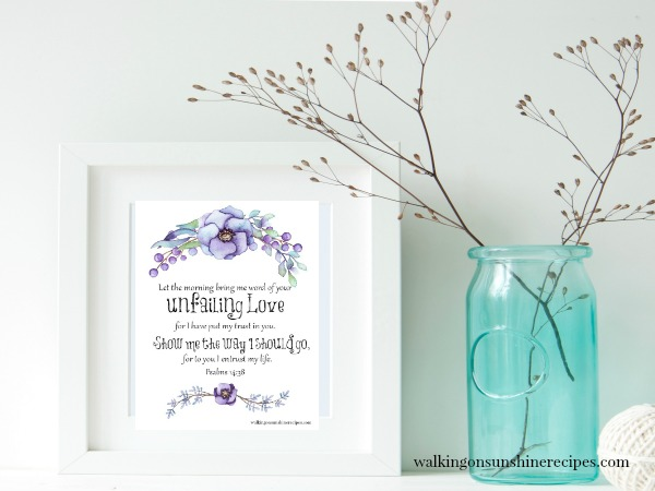 Psalms 14:38 FREE Printable framed with blue vase and flowers from Walking on Sunshine Recipes.