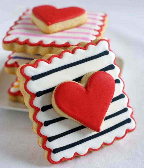 Valentine Cookie Recipes Striped Heart