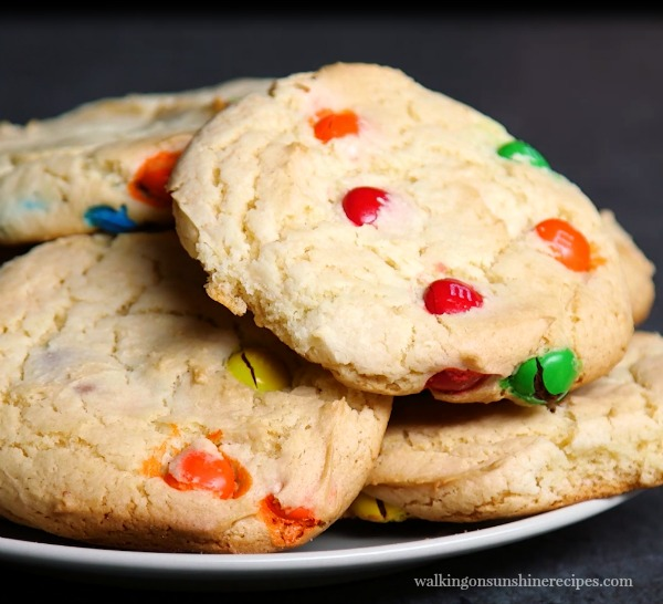 M and M Cake Mix Cookies from Walking on Sunshine Recipes