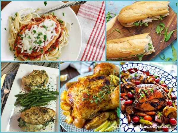 5 Easy Chicken Recipes Weekly Meal Plan from Walking on Sunshine Recipes