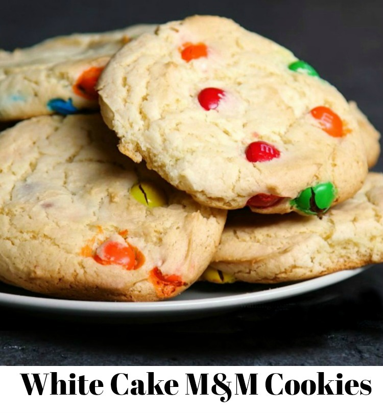 White Cake M&M Cookies from a cake mix.