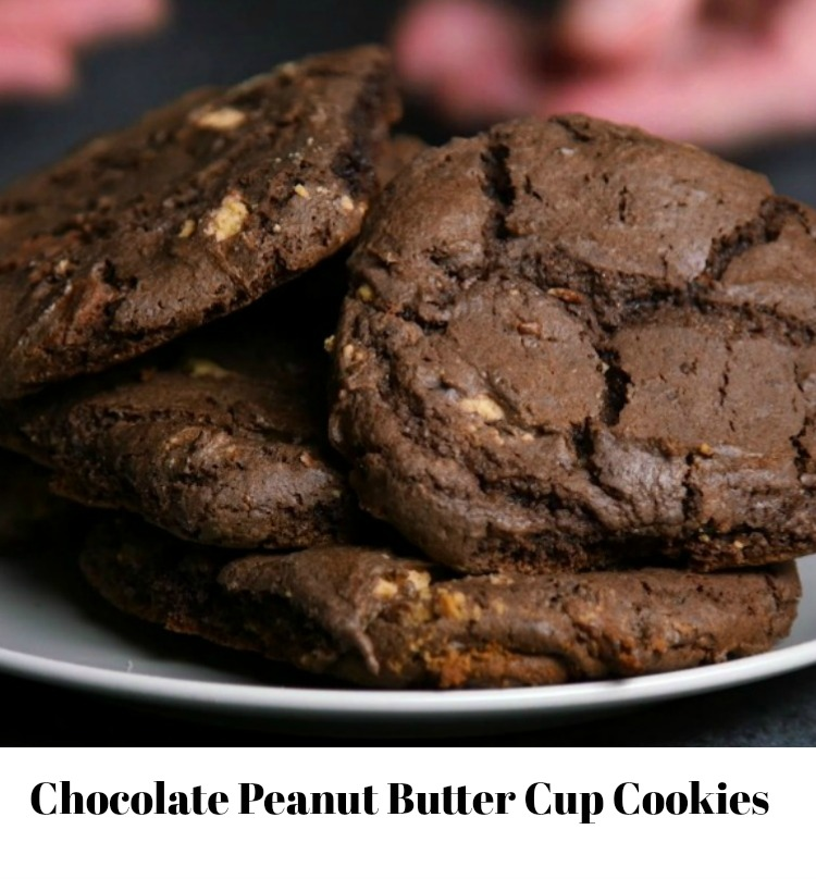 chocolate Peanut Butter Cup Cookies with text