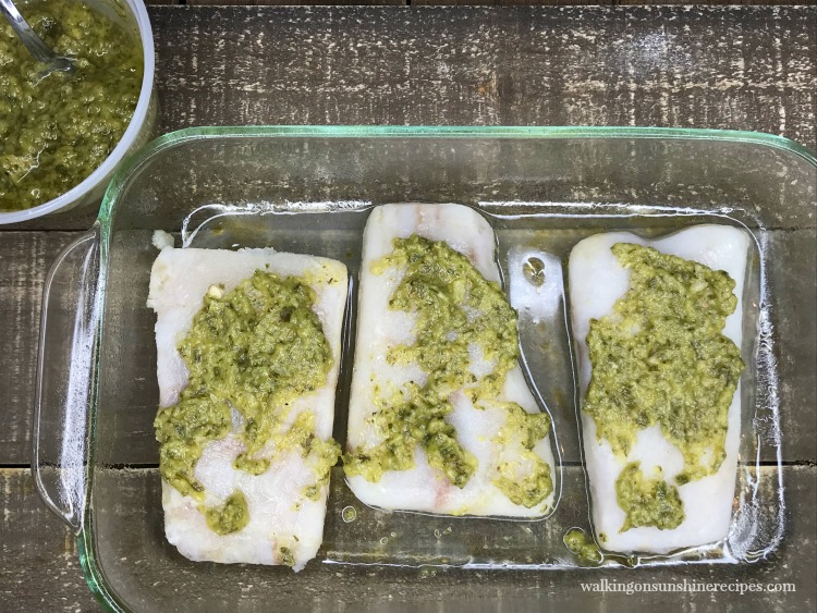 Alaskan Pollock with Chimichurri Sauce in baking dish before baking