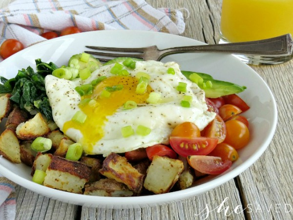 Avocado Egg Potato Breakfast Bowl Recipe from She Saved