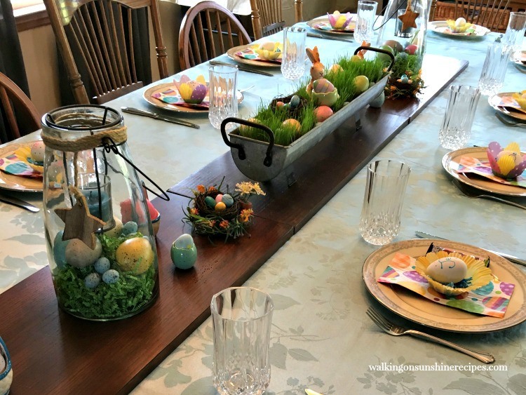 Easter table grass centerpiece.