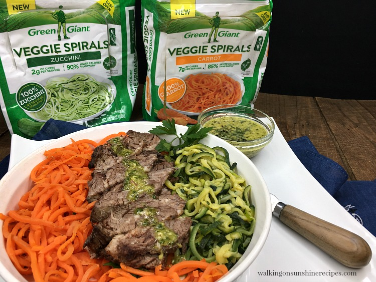 Green Giant Veggie Spirals served with grilled steak.