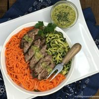 Grilled Steak with Zucchini Veggie Spirals