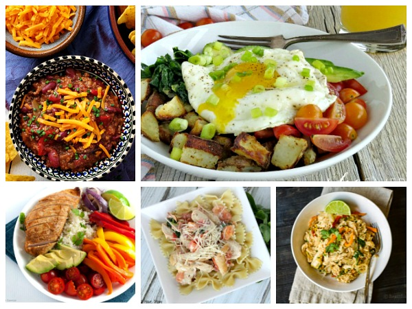 Crock Pot Chili, Avocado Breakfast Bowl, Thai Chicken, Chicken Fajita, One Skillet Pasta Recipes for Weekly Meal Plan