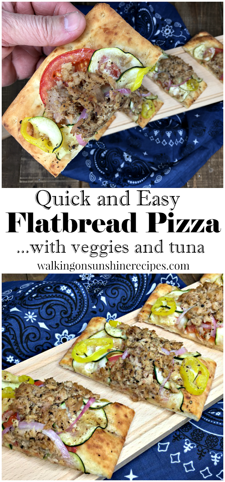 Quick and Easy Flatbread Pizza with Veggies and Tuna