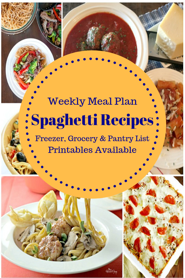 Spaghetti Recipes Weekly Meal Plan