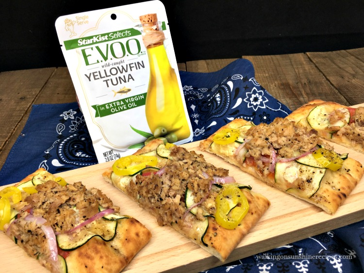 Starkist Selects Tuna Flatbread Pizza on cutting board