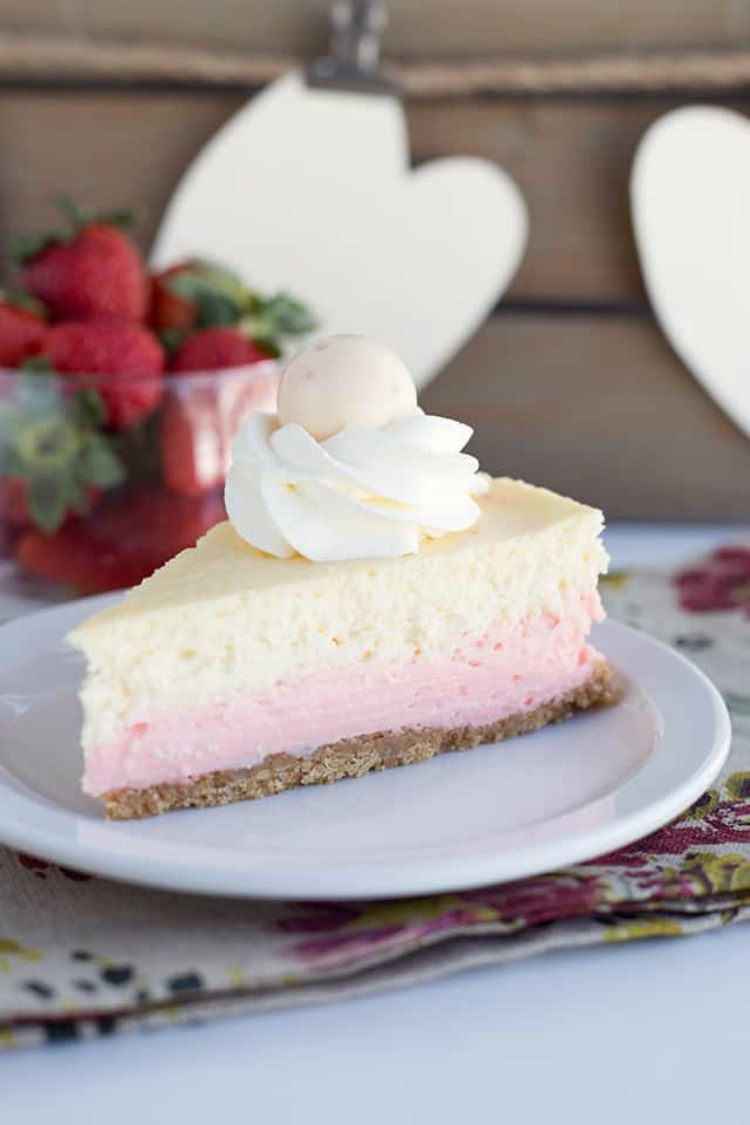 Strawberries and Cream Cheesecake from Cookie Dough and Oven Mitt