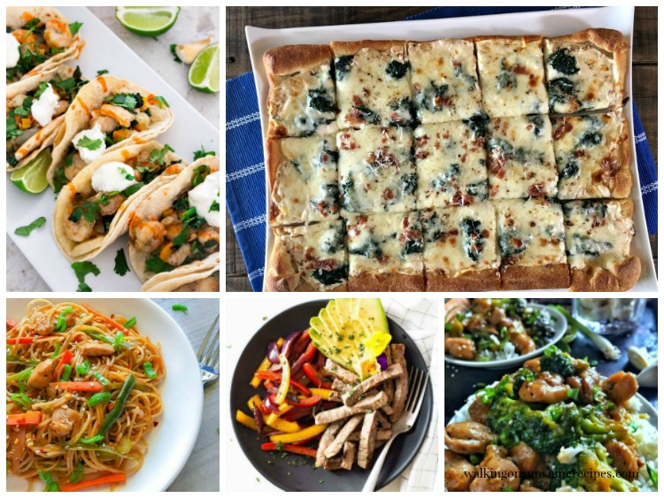 This week's meal plan is featuring 20 minute dinner recipes from Walking on Sunshine Recipes.