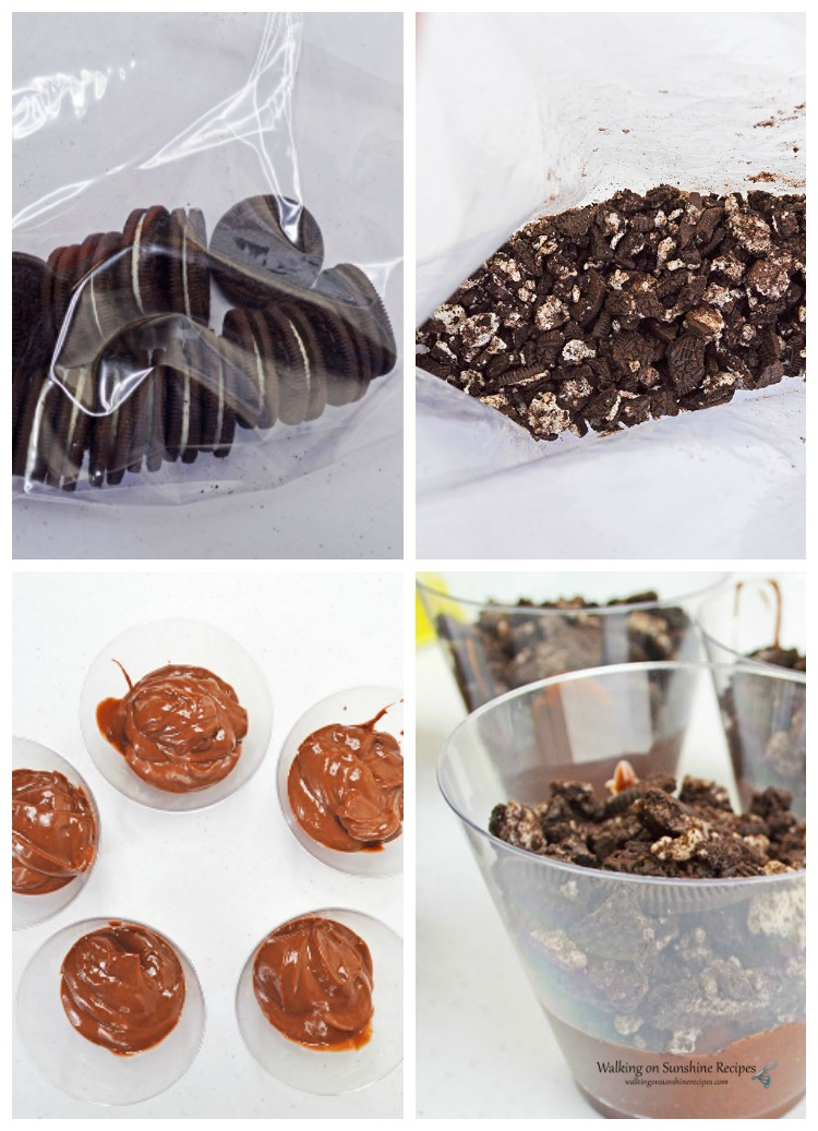 Adding crushed Oreo cookies to the chocolate pudding cups