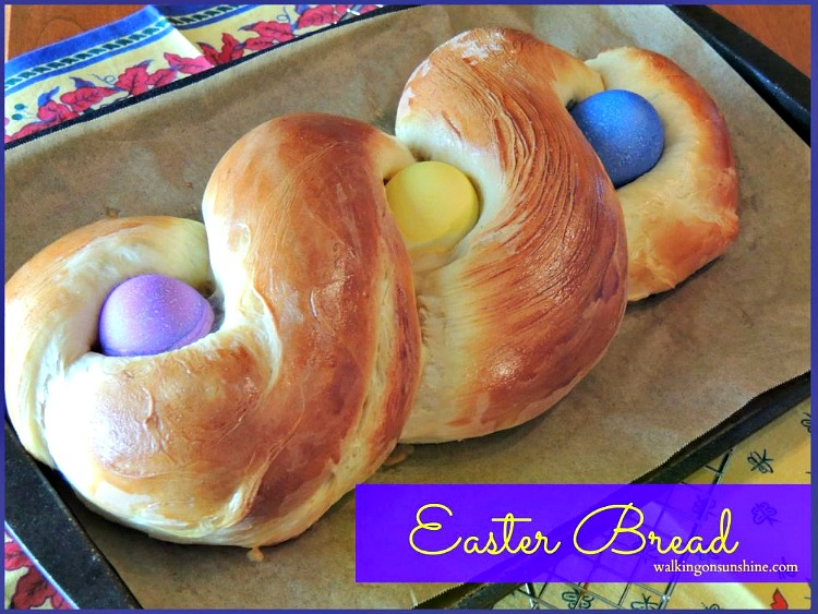 Easter Bread | Sweet Dough Bread with colorful Easter Eggs | Walking on Sunshine Recipes