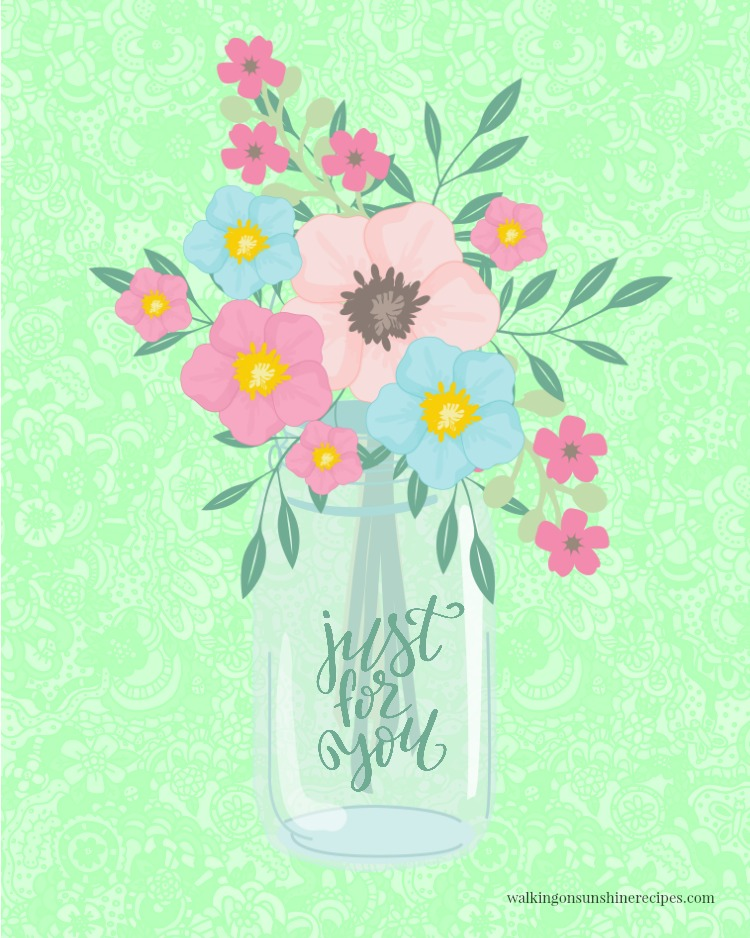 Mason Jar with Flowers Spring Printable available from Walking on Sunshine Recipes.